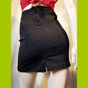VTG 80s CHEROKEE Black Stretch Denim Mini Skirt